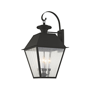 Mansfield Black Four-Light Outdoor Wall Lantern