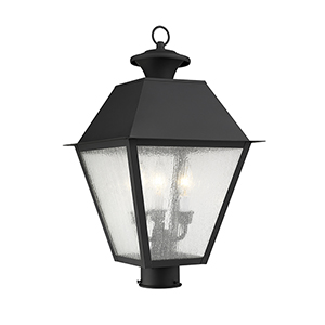 Mansfield Black Three-Light Outdoor Post Head