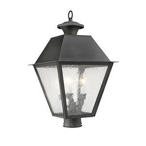 Mansfield Charcoal Three-Light Outdoor Post Head