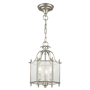 Legacy Brushed Nickel Three-Light Convertible Chain Hang/Ceiling Mount