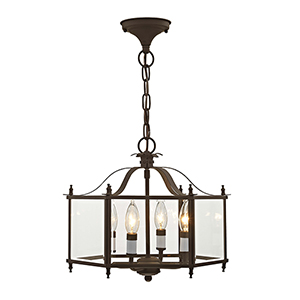 Milford Bronze Four-Light Convertible Chain Hang/Ceiling Mount