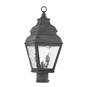 Exeter Charcoal Two-Light Outdoor Post Head
