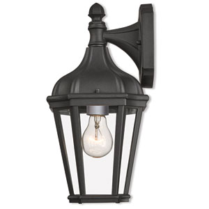 Morgan Textured Black One-Light Outdoor Wall Lantern
