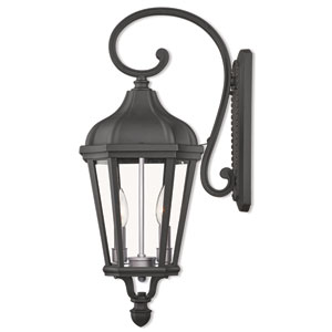 Morgan Textured Black Two-Light Outdoor Wall Lantern