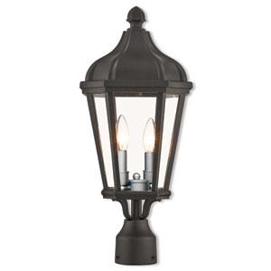 Morgan Textured Black 9-Inch Two-Light Outdoor Post Top Lantern