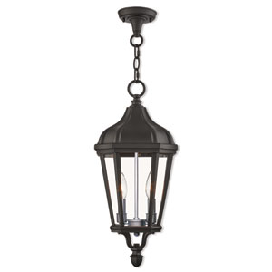 Morgan Textured Black 9-Inch Two-Light Outdoor Pendant Lantern