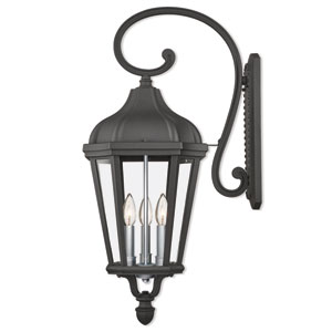 Morgan Textured Black Three-Light Outdoor Wall Lantern