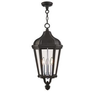 Morgan Textured Black 11-Inch Three-Light Outdoor Pendant Lantern