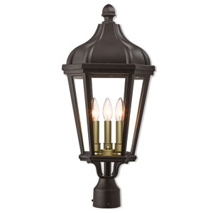 Morgan Bronze 11-Inch Three-Light Outdoor Post Top Lantern