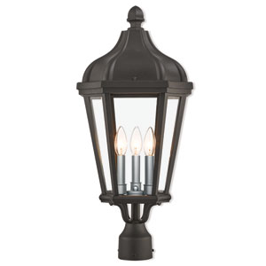 Morgan Textured Black 11-Inch Three-Light Outdoor Post Top Lantern