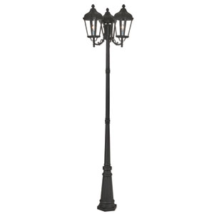 Morgan Textured Black 26-Inch Three-Light Outdoor Post Light