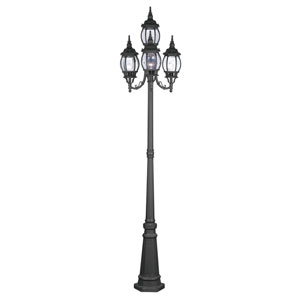 Frontenac Black Four-Light Outdoor Four-Lantern Post Light