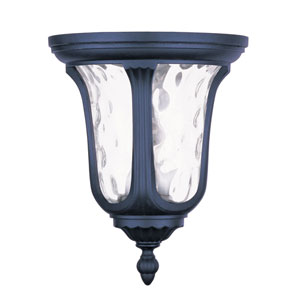 Oxford Black Two Light 13.75-Inch Outdoor Flush Mount