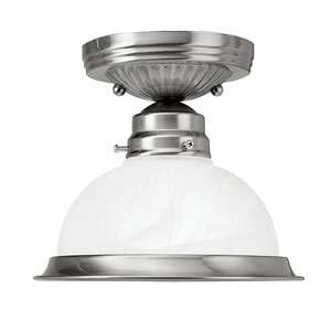 Home Basics Brushed Nickel Single Light Ceiling Mount