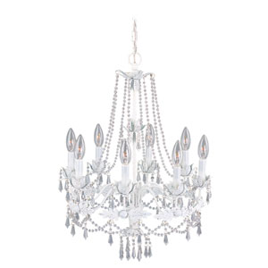Regal Eight-Light Antique White Chandelier
