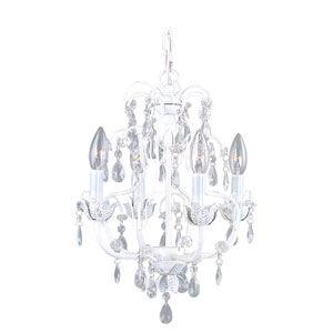 Athena Four-Light Antique White Mini Chandelier