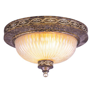 Seville Palacial Bronze Three-Light Ceiling Mount Fixture