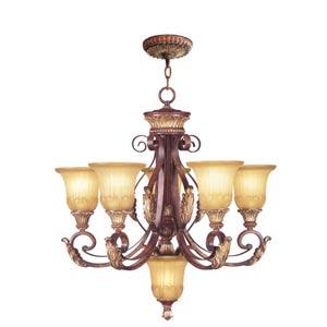 Villa Verona Verona Bronze with Aged Gold Leaf Accents Five-Light Chandelier