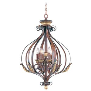 Villa Verona Bronze Six-Light Foyer Fixture