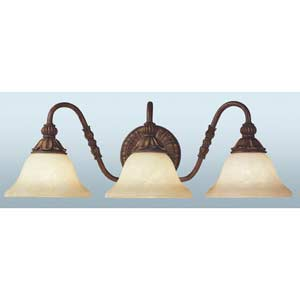 Sovereign Crackled Three-Light Bath Fixture