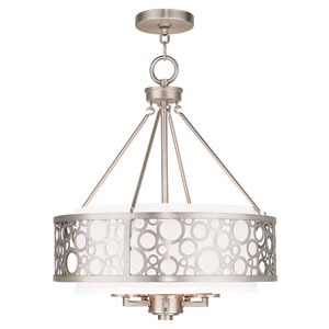 Avalon Brushed Nickel 18-Inch Five-Light Drum Pendant