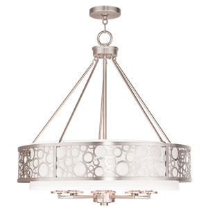 Avalon Brushed Nickel 26-Inch Eight-Light Drum Pendant