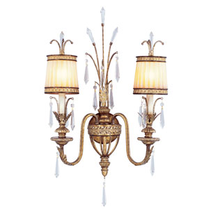 La Bella Vintage Gold Leaf Two-Light Wall Sconce