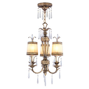 La Bella Vintage Gold Leaf Three-Light Ceiling Mount/Chain Hung Fixture