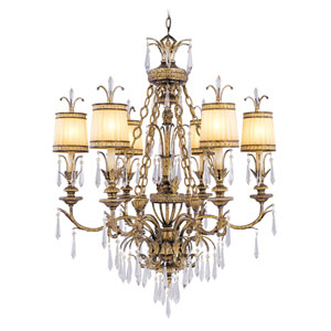 La Bella Vintage Gold Leaf Six-Light Chandelier