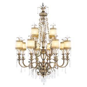 La Bella Vintage Gold Leaf Twelve-Light Chandelier