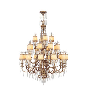 La Bella Vintage Gold Leaf Twenty-Two Light Chandelier