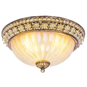 La Bella Vintage Gold Leaf Three-Light Ceiling Mount Fixture