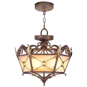 Bristol Manor Palacial Bronze Three-Light Ceiling Mount/Chain Hung Fixture