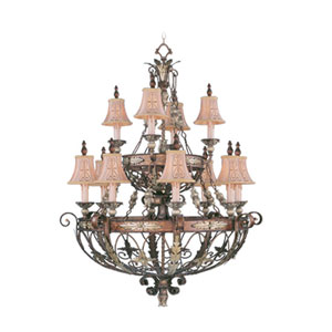 Pamplona Palacial Bronze Twelve-Light Chandelier