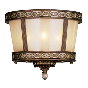 Seville Palatial Bronze with Gilded Accents Three-Light Semi Flush Mount