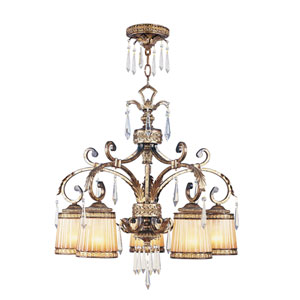 La Bella Vintage Gold Leaf Five-Light Chandelier