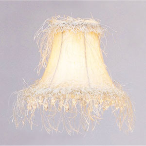 Off White Silk Bell Clip Chandelier Shade w/ Corn Silk Fringe & Beads