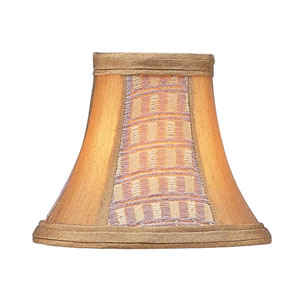 Gold Panel Silk Bell Clip Chandelier Shade with Corn Silk Fringe
