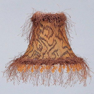 Gold/Black Bell Clip Chandelier Shade w/ Corn Silk Fringe and Beads