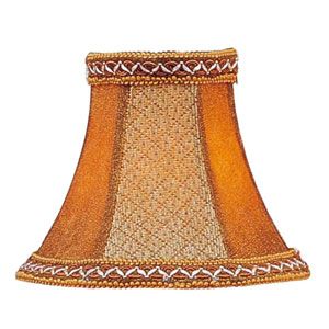 Tan/Brown Suede Bell Clip Chandelier Shade w/ Fancy Trim