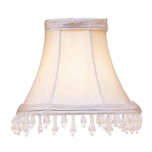 Pewter Bell Clip Chandelier Shade with Clear Beads