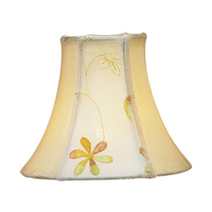 Embroidered Floral Silk Bell Clip Chandelier Shade