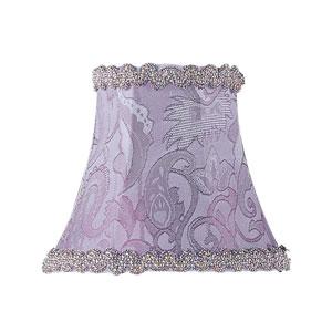 Periwinkle Damask Silk Bell Clip Chandelier Shade w/ Fancy Trim