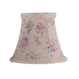 Cream Floral Print Bell Clip Chandelier Shade w/ Fancy Trim