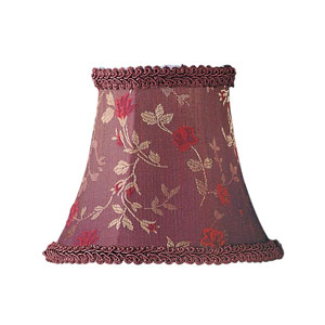 Burgundy Floral Print Bell Clip Chandelier Shade w/ Fancy Trim