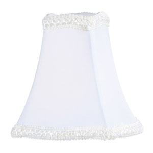 White Fancy Square Silk Clip Chandelier Shade