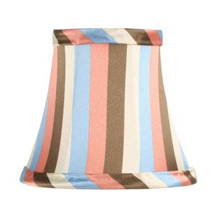 Multi Color Striped Silk Bell Clip Chandelier Shade