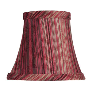 Burgundy Striped Silk Bell Clip Chandelier Shade