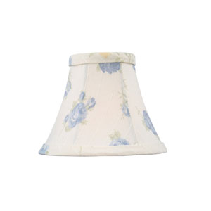 White with Blue Floral Print Silk Bell Clip Chandelier Shade