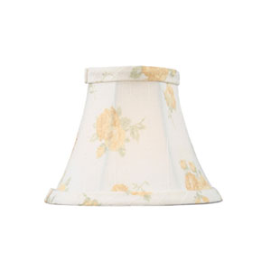 White with Peach Floral Print Silk Bell Clip Chandelier Shade